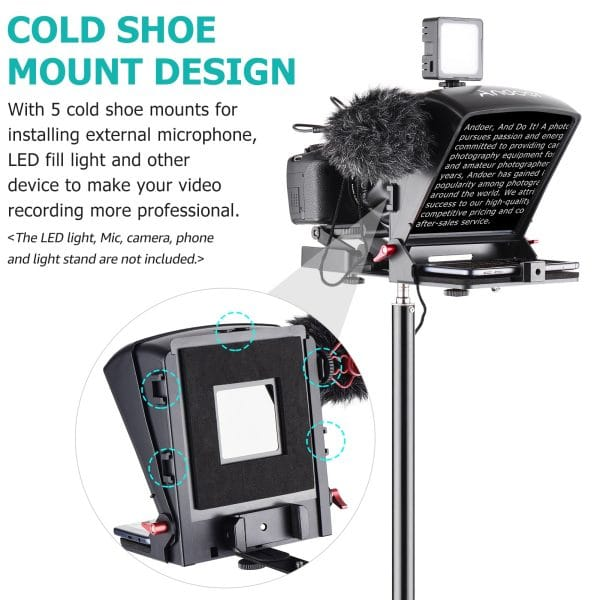 Portable Teleprompter Prompter for Smartphone/Tablet/DSLR Camera Video Recording Live Streaming Interview with Remote Control